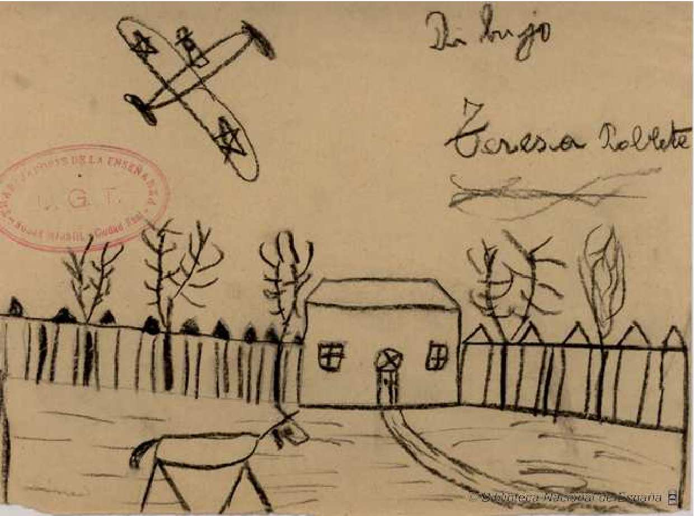 Dibujos hechos por los niños durante la guerra civil española