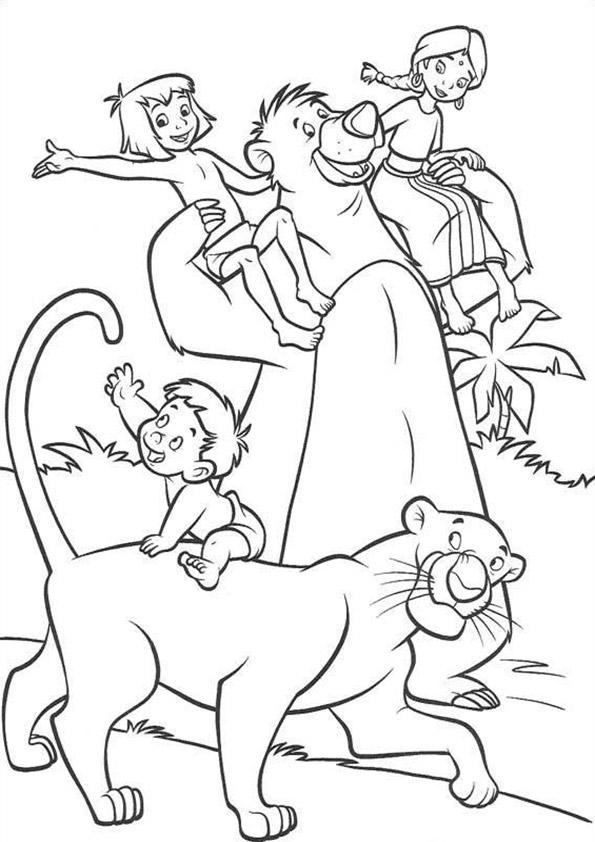Dibujos de el libro de la selva para pintar e imprimir